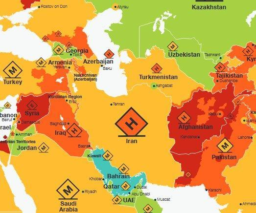 نقشه خطر سفر در سال 2020 منتشر شد: ایران امن تر از ترکیه، روسیه و عربستان
